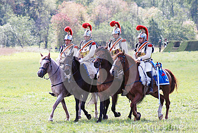 Four soldiers riding horses. Editorial Photography