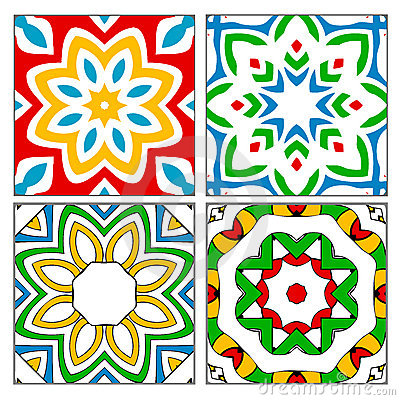 Four spanish tile patterns