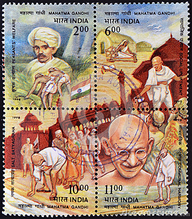 Four stamps dedicated to Mahatma Gandhi