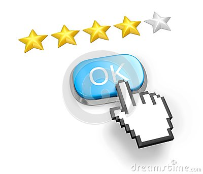 Four stars rating. Button OK and hand cursor.