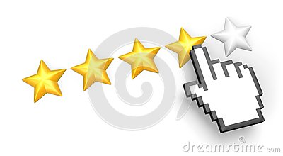 Four stars rating. Hand cursor.