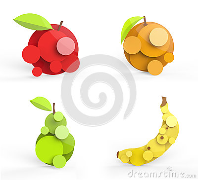 Four stylized fruits illustration