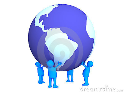 Four stylized persons holding on hands the Earth