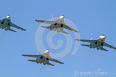 Four Su-27 front view Editorial Image