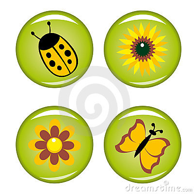 Four summer buttons for your design
