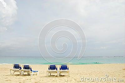Four sun beach chairs