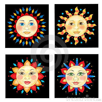 Four Sun Faces