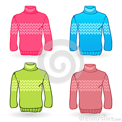 Four Sweater icons on white background. Knitting