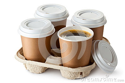 Four take-out coffee in holder Stock Photo