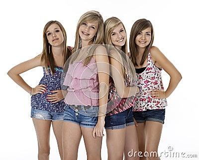 Four Teenage Girls on White