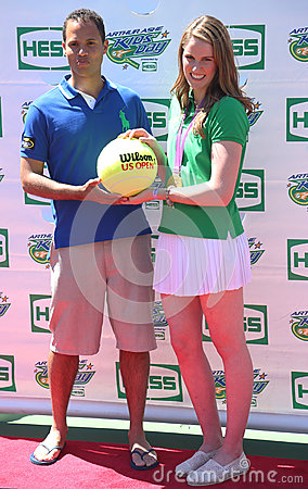 Four-time Olympic gold medalist Missy Franklin co-host with TV personality Quddus at Arthur Ashe Kids Day 2013 Editorial Stock Image