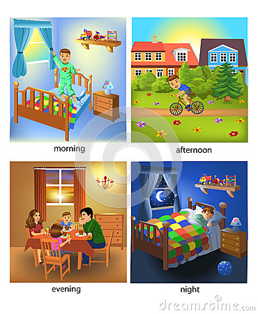 Free Four Times Of The Day: Morning, Afternoon, Evening And Night Stock Photography - 70986322