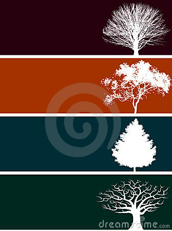 Free Four Tree Banners Royalty Free Stock Image - 5353016