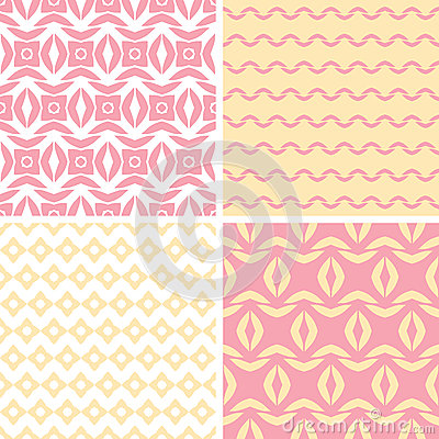 Four tribal pink and yellow abstract geometric