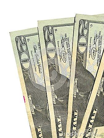 Four twenty US dollar bills