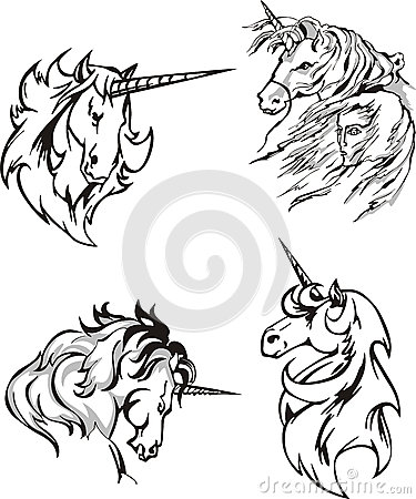 Four unicorn sketches