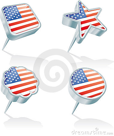 Four USA pins