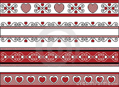 Four Valentine Borders With Gingham Trims