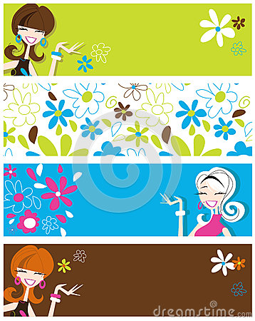 Fun banners featuring retro styled flirty girls and flowers