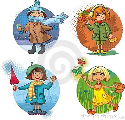 Four vector illustration - little girls and season