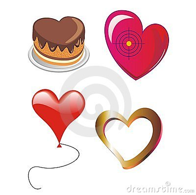 Four vectorial hearts  as a cake, marble, target a