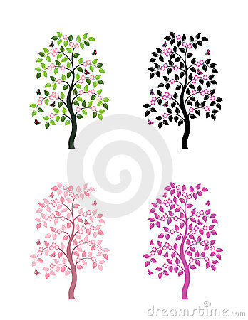 Four versions of flowering tree