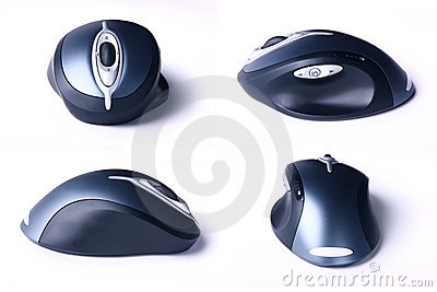 Four views of cordless computer mouse