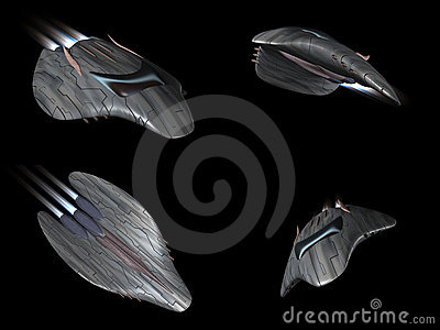 Four views of a powerful spaceship very streamline