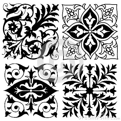 Four vintage foliate ornament designs