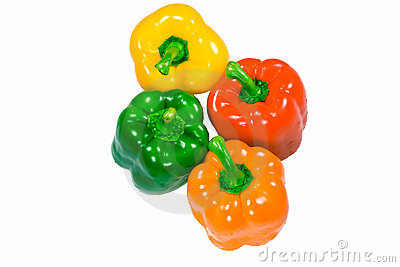 Four wet peppers top view