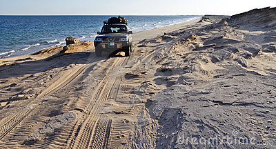 Four Wheel Drive Vehicle on a Remote Beach