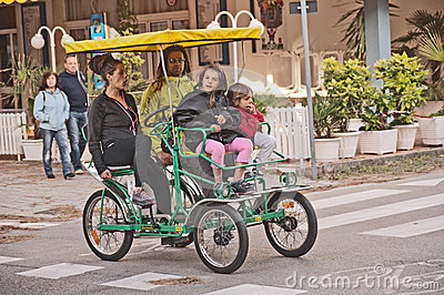 Four wheeled cycle in use in Italy Editorial Stock Photo
