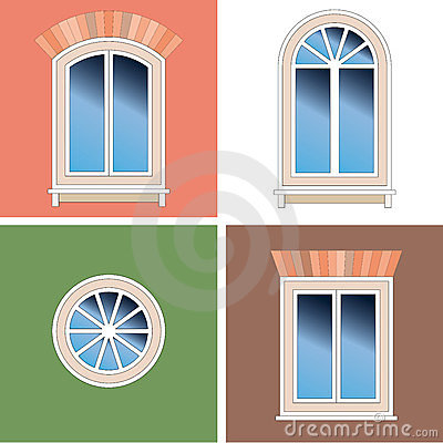 Four windows over stucco background