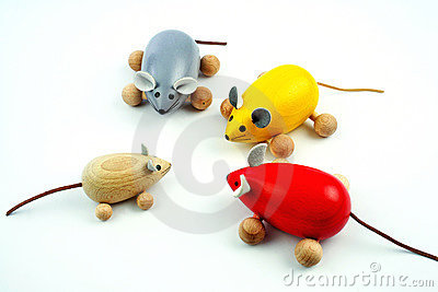 Four wooden mice