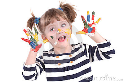 Four-year Girl With Hands Soiled In A Paint. Stock Image - Image: 18526211