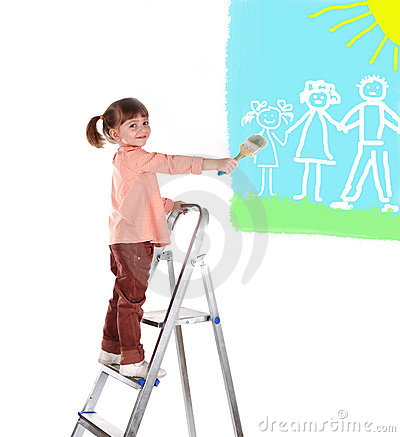 Four-year girl stand on a ladder and draws a pictu
