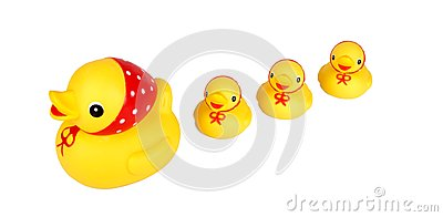 Four yellow ducks isolation