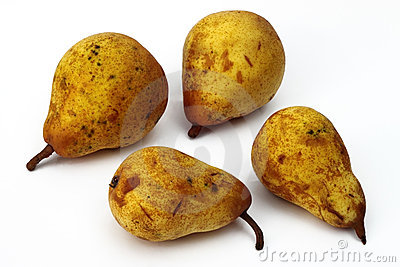 Four yellow pears