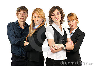Four young businessperson in formal clothes