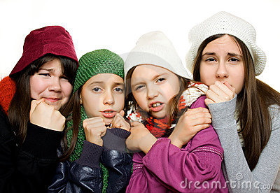 Four young girls in winter outfit