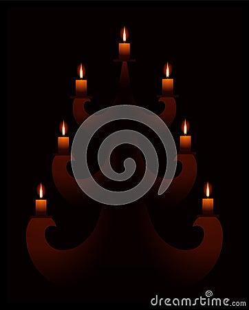 Fourrure-arbre avec des bougies