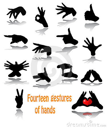 Fourteen gestures of hands