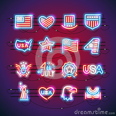 Free Fourth Of July Neon Signs Royalty Free Stock Photo - 90706185