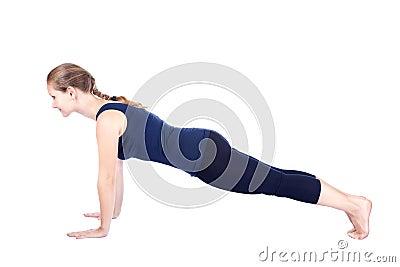 Fourth step of Yoga surya namaskar hastapadasana