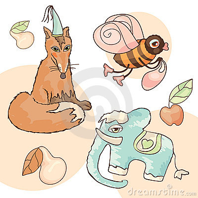 Fox, elephant, bee, pear and apple