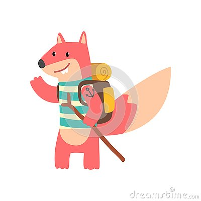 Free Fox Travelling With Backpack And Staff, Cute Cartoon Animal Having Hiking Adventure Travel Or Camping Trip Vector Royalty Free Stock Photography - 129923297