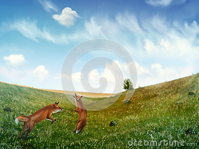 Foxes Playing In A Field - Digital Painting