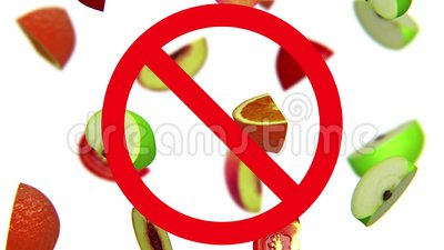 Früchte im Verbotszeichen stock footage