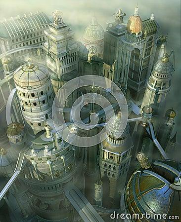 För fantasidatalista för stad 3d framtid past till
