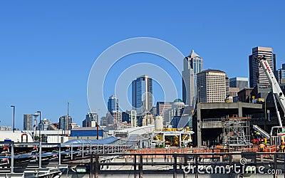 För Seattle projekt djupt tråkmånstunnel Redaktionell Arkivfoto